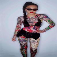 ingrosso femmina sexy del tatuaggio-D09 Tuta stampata femminile costumi da ballerina sexy palcoscenico indossa spettacolo gogo bikini Tatuaggio stampa body dj abiti vestire performance da festa
