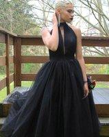 vestido sem costas de gola alta preta venda por atacado-2020 preto Prom Dresses A Linha de Alta Neck Tulle plissados Backless Trem da varredura formais Vestidos Partido Plus Size Robes De Soiree DP0037