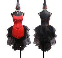 vestidos rojos bailarines al por mayor-Brillante Rhinestone Señoras vestidos de baile latino para las mujeres Club de encaje negro bailarina cantante Animador Fringe borla vestido rojo
