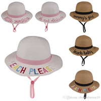Wholesale strawhat resale online - Kids Bucket Hat Sun Hat Word Strawhat Sunhat Fishing Caps Baby Fisherman Cartoon Kids Beach Basin