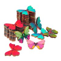 декоративное шитье оптовых-2 отверстия смешанный цвет ретро винтаж ручной работы мультфильм бабочка деревянные ремесло швейные кнопки DIY ручной работы декоративные кнопки