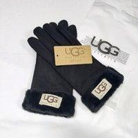 gants de marque achat en gros de-Femmes Ski Gants En Plein Air Sports Marque Designer Fourrure En Cuir Cinq Doigts Gants Solide Couleur Hiver En Plein Air Chaud En Cuir Gants 331