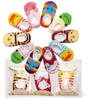 meias menino chinelo sapatos venda por atacado-10 Par / lote + Unisex Bebê Crianças Criança Menina Menino Anti-Slip Meias Sapatos Chinelo Bebê Meias Frete Grátis