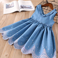 Wholesale chinese style clothes denim for sale - Group buy Retail girls dress denim flower embroidered ruffle vest skirts baby girl casual dresses kids princess clothes children fashion clothing