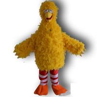 ingrosso grandi costumi della mascotte d'uccello-2019 Big Yellow Bird costume della mascotte del personaggio dei cartoni animati del partito del costume di trasporto