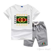 garçons sans vêtements achat en gros de-GC Logo Luxury Designer Sets enfants Vêtements d'été Vêtements de bébé pour les garçons Imprimer Tenues Mode enfant en bas âge T-shirt Shorts Costumes enfants