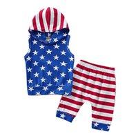 meninos hoodies sem mangas venda por atacado-Hoodie da bandeira americana roupas bebê menino algodão sem mangas estrela listrada Pullover Shorts azuis conjunto independência dia nacional EUA 4 de julho