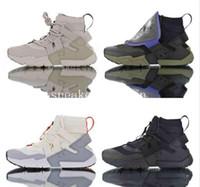 koşu için en iyi koşu ayakkabıları toptan satış-2019 Yeni Huarache Gripp Yelken QS Erkek Koşu ayakkabı En İyi kalite için Huara haki Mavi Spor Sneakers Açık Havada Koşu Yürüyüş Boyutu 40-45