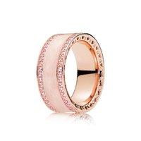anillo de bodas rosa establece al por mayor-Luxury 18K Rose gold Women RING Wedding logo Original Box set Para Pandora 925 Silver Pink Anillos De Esmalte