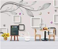 ingrosso carta da parati quadrata 3d-3d wallpaper personalizzato foto murale Semplice venato quadrato farfalla sfondo muro decorazioni per la casa 3d murales carta da parati per pareti 3 d soggiorno