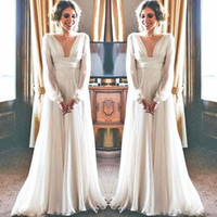 Wholesale simple greek style wedding dress for sale - Group buy 2019 Boho Wedding Dress Long Sleeve Modest V Neck Chiffon Empire Maternity Women Bridal Gowns Greek Style Sexy Bride Dresses