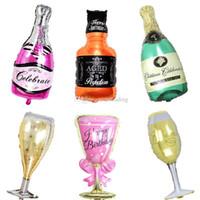 globos de graduación al por mayor-Copa Champagne Botella de Cerveza Globos Papel de Aluminio Globo Globos de Helio Cumpleaños Boda Fiesta de Graduación Decoración Suministros C6308