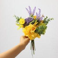 yapay ortancak gövdeleri toptan satış-YO CHO Sarı Karışık Gül Ortanca Lavanta Yapay Çiçekler Buket İpek Çiçek Plastik Düğün Ev Dekorasyonu Sahte Flores için buket Stem