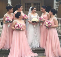 Wholesale wedding party dresses young resale online - 2019 Chiffon Long Bridesmaid Dresses Cheap Plus Size maid of honor dresses For Young Girls Lace Bridal Wedding Party Gowns cheap Custom Made