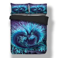 yorgan örtüsü mavi set toptan satış-Mor Mavi ejderha yatak 3D Baskı nevresim yatak seti tek ikiz tam kraliçe kral çarşaflar