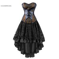 victorian partisi toptan satış-Charmian kadın Seksi Gotik Victorian Steampunk Korse Elbise Deri Overbust Korseler Ve Bustiers Etek Parti Bel Eğitmen Y19072001