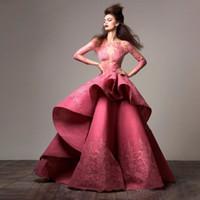 ingrosso lunghi manicotti dai vestiti fromal-Zuhair Murad Fantasy Prom Dresses vedere attraverso pizzo applique maniche lunghe abiti da sera da sera Custom Made Sexy Red Carpet Dress