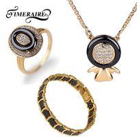 zirkonoxid keramik armbänder großhandel-Neue Gold Frauen Schmuck Gesunde Keramik Strass Zirkonia Armband Ring Anhänger Halskette Mode Hochzeit Schmuck Set