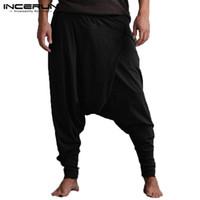 плюс брюки с капюшоном оптовых-Мужские шаровары для бега Joggers Drop Crotch Однотонные карманы Хип-хоп Брюки Мужские свободные повседневные брюки Yoga-Брюки Большой размер INCERUN