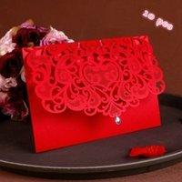 carton rouge de chine achat en gros de-Décorations festives Favors 10pcs de luxe Fournitures de mariage Vintage Chine Laser Cut mariage Invitations Cartes papier rouge
