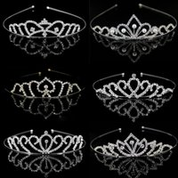 Wholesale pink tiara crown resale online - Girls Crystal Tiaras and Crowns Headband Girls Princess Bridal Prom Crown Wedding Party Accessiories Hair Jewelry