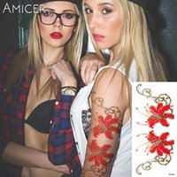 Wholesale women foot sexy resale online - 28 Styles Women Folwers Temporary Tattoos Waterproof Temporary Tattoos Stickers Sexy Red Rose Flowers Arm Shoulder Tattoo