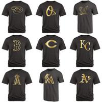 coleção de fãs venda por atacado-Homens Diamondbacks Orioles Red Sox Vermelhos Royals Anjos Marlins Brewers Mets Fan Vestuário Coleção Ouro Mistura Preto T-Shirt
