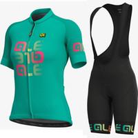 conjuntos de roupas de ciclismo para mulheres venda por atacado-ALE mulher de manga curta Ciclismo jersey bib shorts Set MTB Roupas de Bicicleta Maillot Ropa Ciclismo 100% Poliéster Corrida de Bicicleta Roupas de Ciclismo