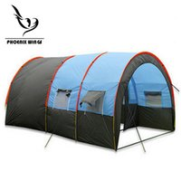 Wholesale family camping tents resale online - Tunnel Person Tents Large Camping tent Waterproof Canvas Fiberglass People Family equipment outdoor mountaineering Party