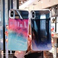 ingrosso gocce di iphone-Caso goccia di goccia di colore gradiente di lusso per iPhone X 7 7Plus 8 8Plus Ultra sottile vista dello specchio Hard Back PC per iPhone 6 S 6S Plus Custodia