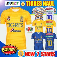 трикотаж оптовых-Новые 7-звездочные футбольные майки NAUL Tigres 2019 19/20 Camiseta de Foot Maillot Home Third Jersey GIGNAC Kids Kit 2020 Liga MX Футболки