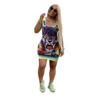 tanque de tigre al por mayor-Tiger Head Print Slim Skinny Vestidos Mujeres Tank Chaleco Faldas sin mangas Sexy Mini falda 2019 Diseñador Mujer Vestidos de verano 2XL C7907