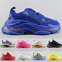 Wholesale bubbles shoes resale online - Top quality Triple S Casual Shoes Clear Bubble Midsole Triple Black White Green Men women Platform sports Sneakers Trainers Size