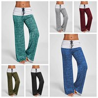 Wholesale ladies drawstring yoga pants online - Casual Pants Spring Autumn Lady Indoor High Waist Drawstring Loose Relaxed Leggings Capris Cotton Blend Yoga Training Sport Trousers