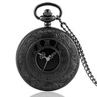 schmetterling geformte uhr groihandel-Hohl römische Zahlen Taschenuhr Voll Quarz Gravierte Fob Retro hängende Taschen-Uhr-Ketten-Geschenk