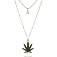 kristal yaprakları toptan satış-Moda Kolye Çok Katmanlı Kristal Akçaağaç Yaprağı Kolye Kolye Altın Kaplama Koyu Yeşil Şeker Akçaağaç Yaprağı Kolye Zincir takı Kadın için