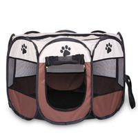 evcil hayvan oyuntayları toptan satış-Taşınabilir Katlanır Pet çadır Köpek Evi Kafes Köpek Kedi Çadır Oyun Parkı Köpek Kulübesi Kolay Kullanım Sekizgen Çit
