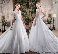 Wholesale short wedding dresses for sale - Vintage Vestios Do Novia Wedding Dresses V Neck Cap Sleeves Backless Lace Appliques A Line Bridal Gowns