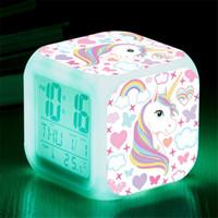 ledli dijital masa saatleri toptan satış-Karikatür Unicorn Çalar Saat Led Dijital Alarm Saatler Çocuk Çocuk Öğrenci Masa Saati 7 Renk Gece Işığı Termometre Hediye değiştirme