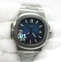 otomatik saatler şeffaf arama toptan satış-2019 Yeni Fabrika Hareketi Oyulmuş Mens Watch Nautilus Otomatik Mekanik Paslanmaz Çelik Şeffaf Arka Mavi Dial Erkekler Bilek Saatler
