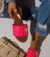 Wholesale spike slip for sale - Group buy Luxury Designer Women Rivet Slippers Ladies Beach Slipper Stud Slippers Non slip Leather Casual Spikes Shoes Flip Flop