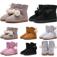 Wholesale girls size snow boots for sale - Group buy 2019 women boots Australia Classic snow Boots WGG tall real leather Bailey Hairball girl winter desinger Keep warm size