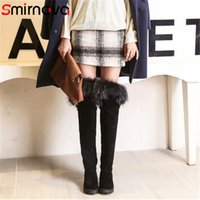 Wholesale thigh bands for sale - Group buy Smirnova NEW arrive fur flock boots ladies hot flat with over the knee boots thigh high woman black large size shoes