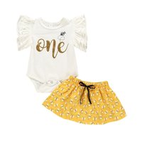 Wholesale bee set baby for sale - Group buy Baby Girls Clothing Sets Infants Ruffle Short Sleeve White T shirts Romper Top Bee Print Shirt set Boutique Kids Outifits M1966