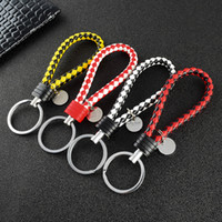 Wholesale solar fairy lights for resale online - DIY Leather Cord Keychain Braided Rope Key Ring Bag Car Buckles Pendant Keyrings for DIY Jewelry
