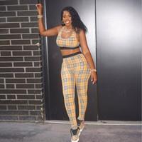 coletes de calças para mulheres venda por atacado-Nova Moda Verão Designer Marca Xadrez Camisas de Manga Curta Calças Treino Sexy Ladies Vest Two-piece Conjuntos de Mulheres Camisola Calças Ternos