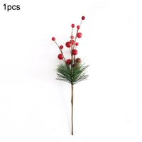 Wholesale diy home decor accessories resale online - Christmas Simulation Berry Artificial Pine Needles Red Berry Flower Branch Holiday Decorations Home Decor DIY Accessories