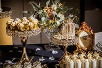 prateleira de pc venda por atacado-Banhado A Cristal Espelho Bolo Stand 3 pçs / set Bolo De Casamento Prateleira De Sobremesa Bandeja De Metal Torre De Exibição De Casamento