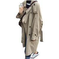 abrigo de color caqui al por mayor-2019 Chic Boyfriend Tide Bow Fajas de gran tamaño de color caqui de las mujeres de la solapa de doble botonadura Mid Long Windbreaker Coat