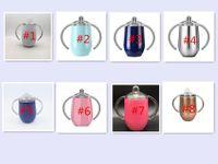 vaso doble al por mayor-Creativo 12 oz Huevos Tazas Sippy Copas Manijas dobles Tazas de acero inoxidable Café Vino Tapas Niño pequeño vaso de huevo taza sippy